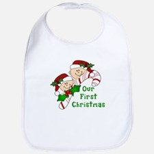 Twins First Christmas Candy Cane Bib
