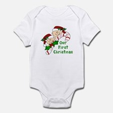Twins First Christmas Candy Cane Infant Bodysuit