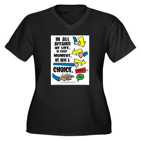 We Have a Choice Women's Plus Size V-Neck Dark T-S