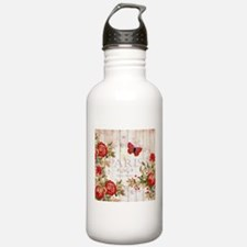Red roses on wood Water Bottle