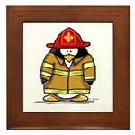 Fire Rescue Penguin Framed Tile