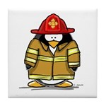 Fire Rescue Penguin Tile Coaster