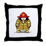 Fire Rescue Penguin Throw Pillow
