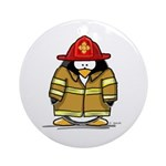 Fire Rescue Penguin Ornament (Round)