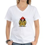 Fire Rescue Penguin Women's V-Neck T-Shirt