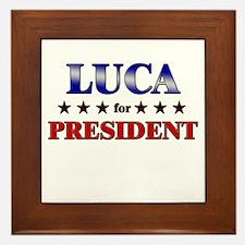 LUCA for president Framed Tile