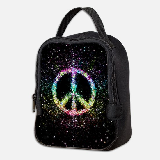 Glitter Flower Peace Sign Neoprene Lunch Bag