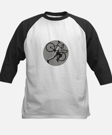 Cyclocross Athlete Carrying Bicycle Circle Retro B