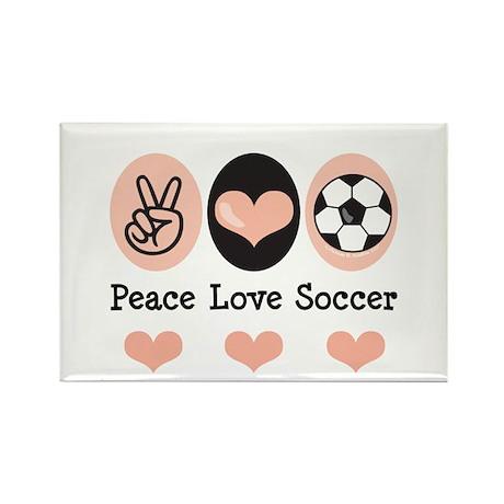 Peace Love Soccer Rectangle Magnet (100 pack)