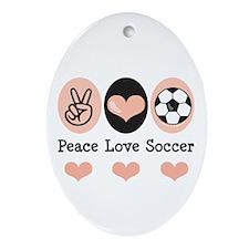 Peace Love Soccer Oval Ornament