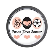 Peace Love Soccer Wall Clock