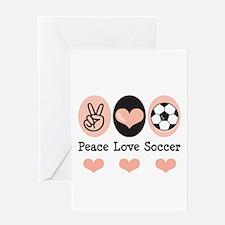 Peace Love Soccer Greeting Card