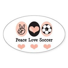 Peace Love Soccer Oval Decal