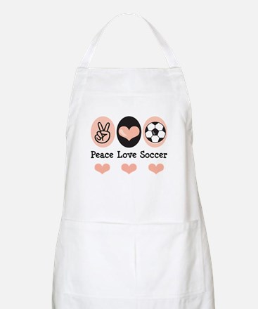 Peace Love Soccer BBQ Apron
