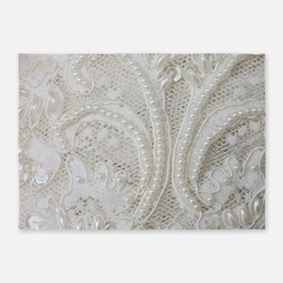 boho chic white lace 5'x7'Area Rug