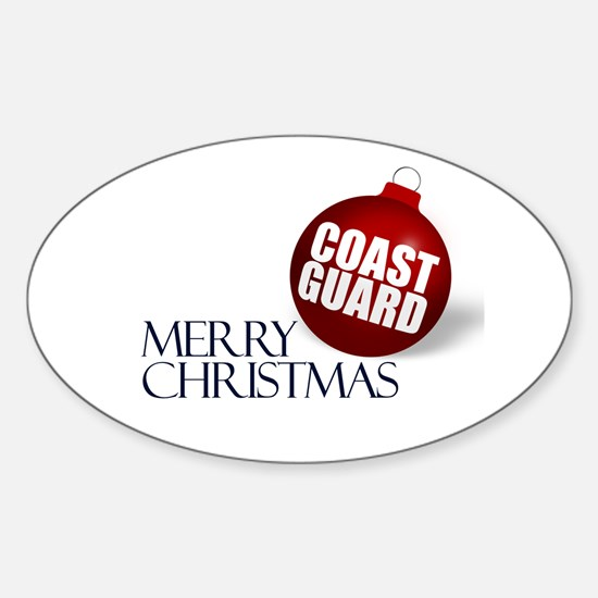 Merry Coast Guard Christmas Oval Decal