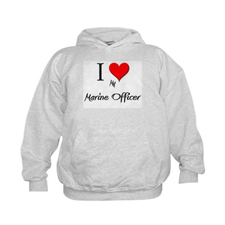 I Love My Marine Officer Kids Hoodie