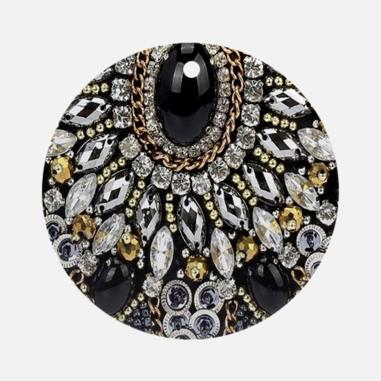Cute Black diamond Round Ornament