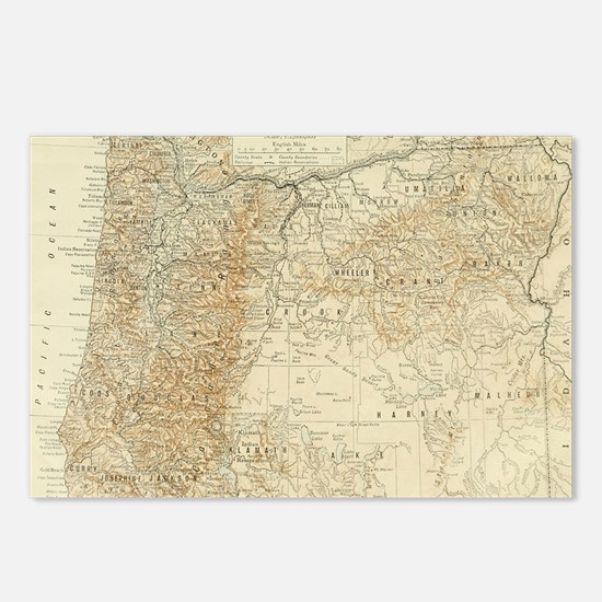 Map oregon Postcards (Package of 8)