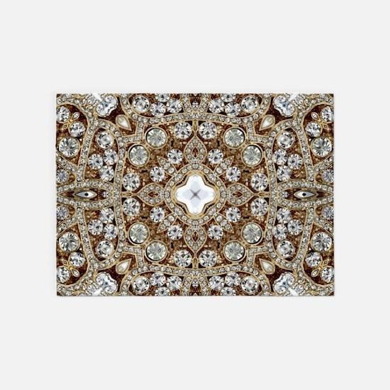 rose gold rhinestone bohemian 5'x7'Area Rug
