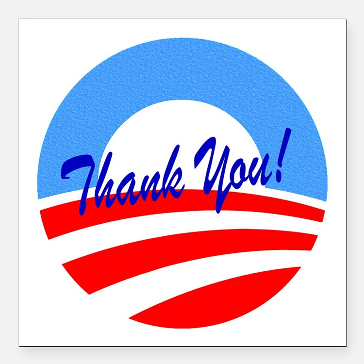 "Thank You Obama Square Car Magnet 3"" x 3"""