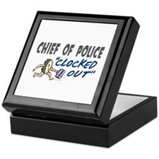 Clocked Out Chief Of Police Keepsake Box