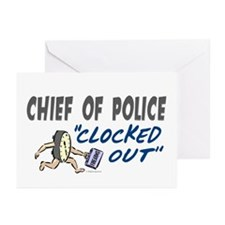 Clocked Out Chief Of Police Greeting Cards (Pk of