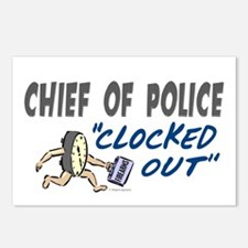 Clocked Out Chief Of Police Postcards (Package of