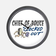 Clocked Out Chief Of Police Wall Clock
