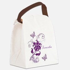 Purple Butterflies and Vines Canvas Lunch Bag