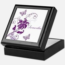 Purple Butterflies and Vines Keepsake Box
