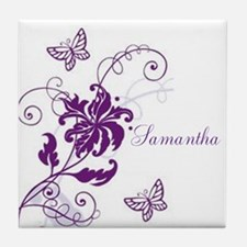 Purple Butterflies and Vines Tile Coaster