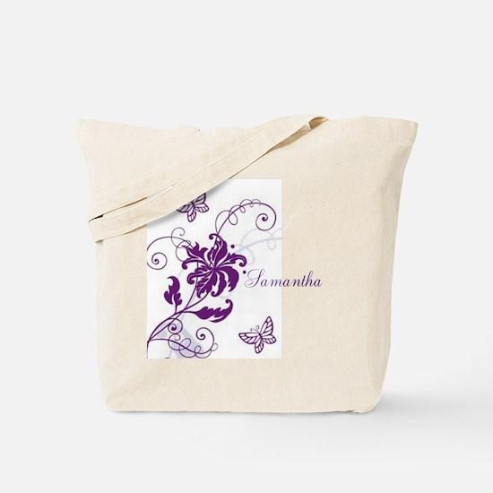 Purple Butterflies and Vines Tote Bag