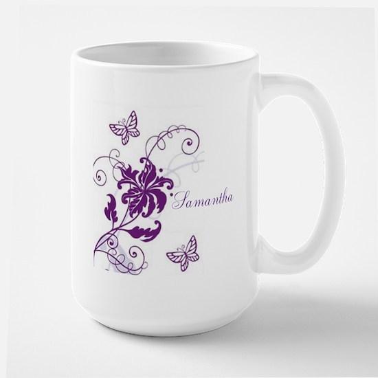 Purple Butterflies and Vines Large Mug