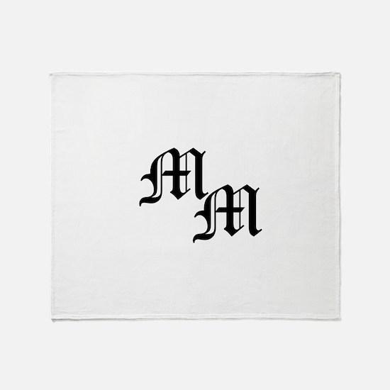 Mongram in Black Throw Blanket
