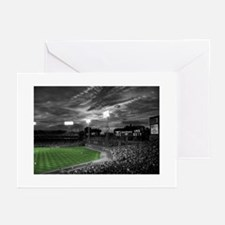 Baseball Field At Night Greeting Cards
