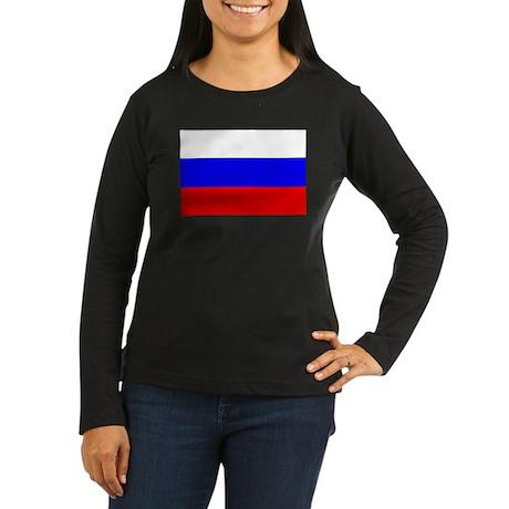 Russian Flag Women's Long Sleeve Dark T-Shirt
