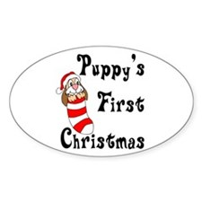 Puppy's First Christmas Oval Decal