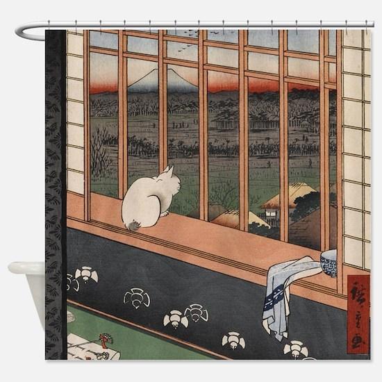 Japanese Cat Neko Shower Curtain