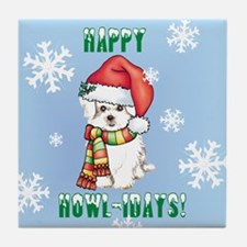 Holiday Maltese Tile Coaster