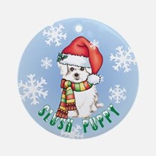 Holiday Maltese Ornament (Round)