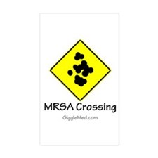 MRSA Crossing Sign 01 Rectangle Decal