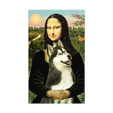 Mona Lisa & Siberian Husky 3 Rectangle Decal
