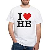 I love hb Mens White T-shirts