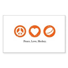 Peace. Love. Hockey. Rectangle Decal