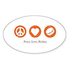 Peace. Love. Hockey. Oval Decal