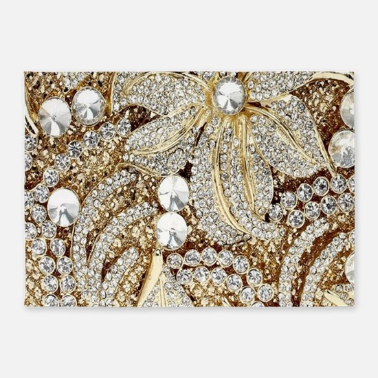 floral champagne gold rhinestone 5'x7'Area Rug