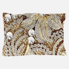 floral champagne gold rhinestone Pillow Case