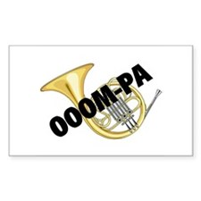 French Horn Rectangle Decal