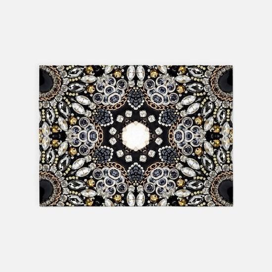 great gatsby black rhinestone 5'x7'Area Rug